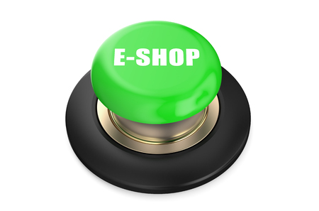 eshop: E-shop  green button isolated on white background Stock Photo