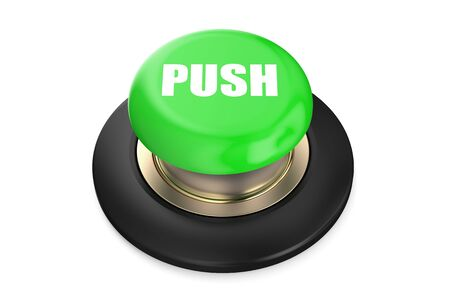push button: green push button isolated on white background Stock Photo