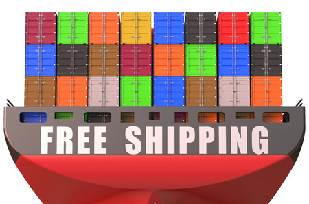 container ship, free shipping concept isolated on white background Stock Photo