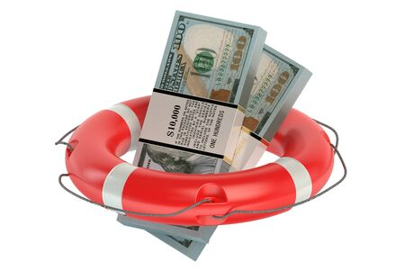 ring buoy: dollars in lifebuoy isolated on white background Stock Photo