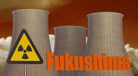 fukushima: Fukushima Radiation area concept isolated on white background