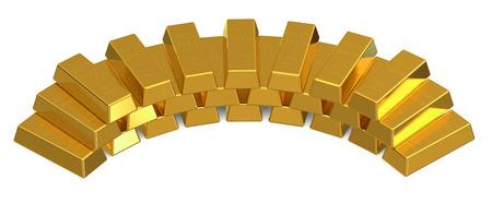 gold bars: Set of gold bars isolated on white background