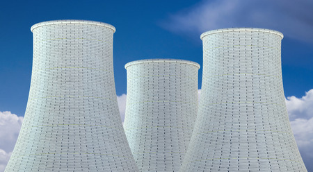cooling towers: Nuclear Power Plant concept, three cooling towers