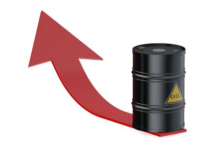 barril de petr�leo: Barril de petr�leo con la flecha aisladas sobre fondo blanco