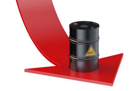 oil barrel: Concepto del precio del petr�leo aislado en el fondo blanco