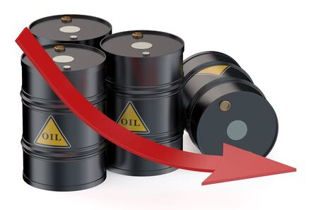 fall down: Oil price falling concept with oil barrels