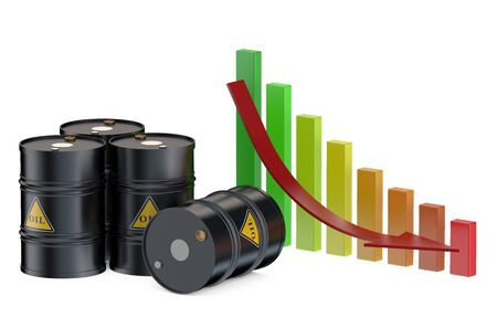 crude oil: Oil price falling isolated on white background
