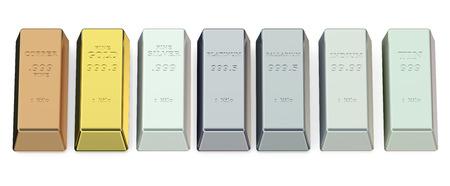 silver ingots: set of metallic ingots isolated on white background