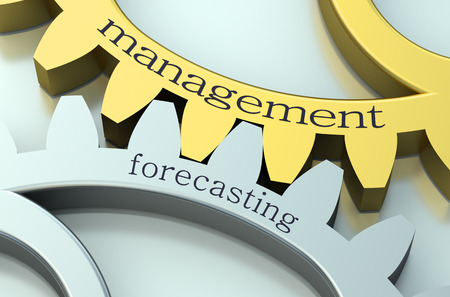 forecasting: Management and Forecasting concept on the gearwheels