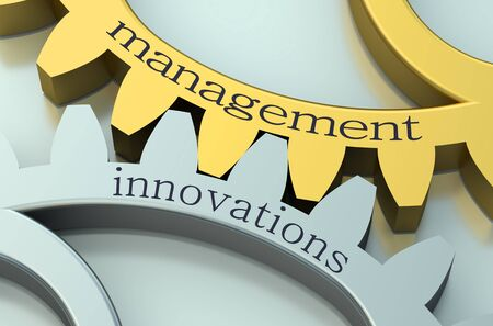 new strategy: Management and Innovations concept on the gearwheels Stock Photo