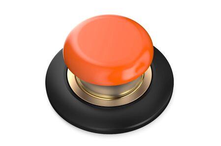 push button: orange push button isolated on white background