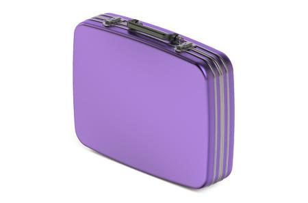 glamur: purple metallic suitcase isolated on white background