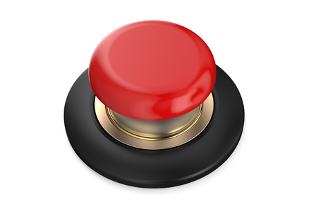 red button: Red push button isolated on white background