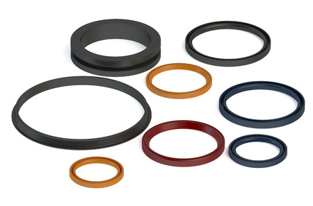 gasket: Rubber Sealing rings isolated on white background
