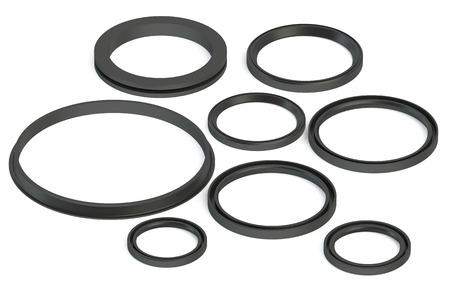 rubber gasket: Sealing rings isolated on white background Stock Photo