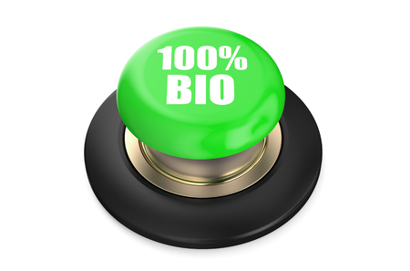 pushbutton: 100 percent Bio green pushbutton isolated on white background
