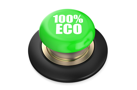 pushbutton: 100 percent eco green pushbutton isolated on white background