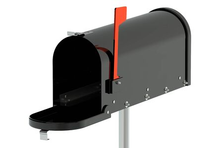 metal mailbox: Black opened mailbox isolated on white background Stock Photo