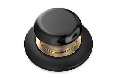 push button: Black push button isolated on white background Stock Photo