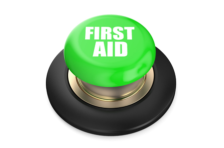 first aid sign: First Aid green button isolated on white background