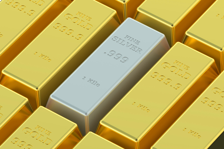gold bar: Gold and silver ingots isolated on white background Stock Photo