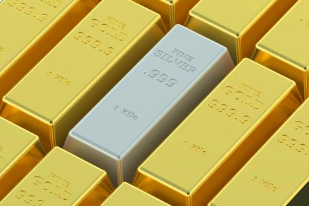 ingots: Gold and silver ingots isolated on white background Stock Photo