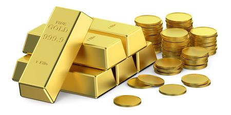 금 덩어리와 동전 흰색 배경에 고립