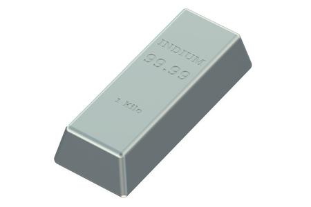 indium: Indium ingot isolated on white background