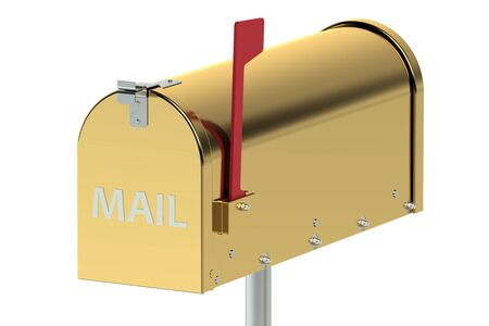 metal mailbox: Gold Mailbox isolated on white background