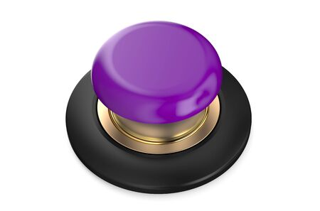 push button: Purple push button isolated on white background Stock Photo