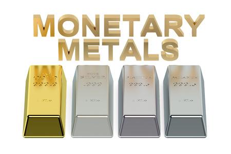 silver ingots: set of monetary metals ingots Stock Photo