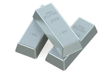 silver ingots: Silver bullions isolated on white background