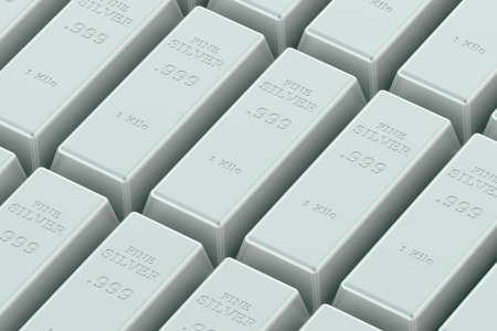 silver ingots: Silver ingots in the stack Stock Photo