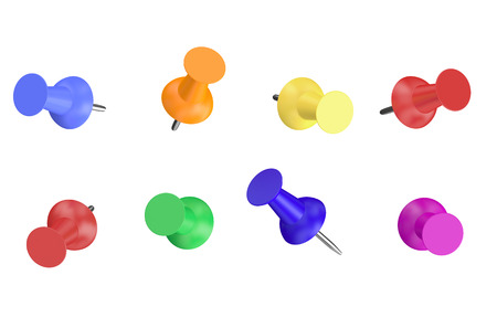 thumb: Colored Push Pins isolated on white background Stock Photo
