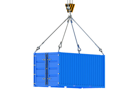 Crane hook and blue cargo container  isolated on white background Standard-Bild