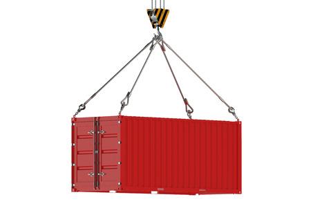 クレーンのフック、白い背景で隔離赤い貨物コンテナー