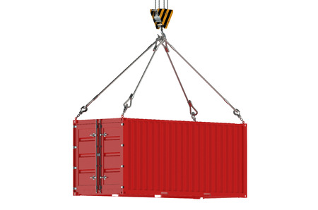 container port: Crane hook and red cargo container  isolated on white background Stock Photo
