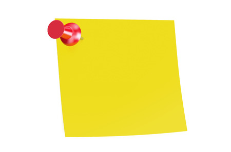 thumb tack: red push pin with blank sticky note Stock Photo