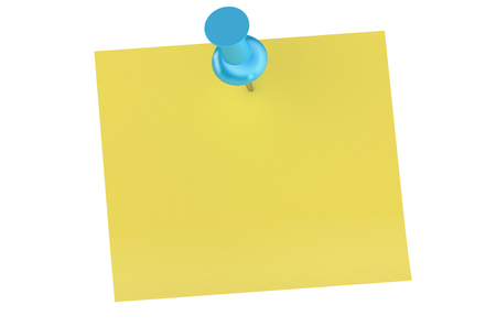 push pin: blue push pin with blank sticky note Stock Photo