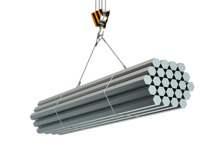 rolled: Crane hook with rolled metal hexagon bars