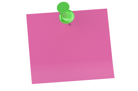 thumb tack: green push pin with blank sticky note