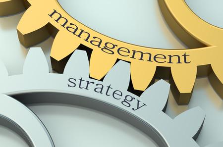gestion: Gestión y Estrategia de concepto sobre la rueda dentada metálica Foto de archivo