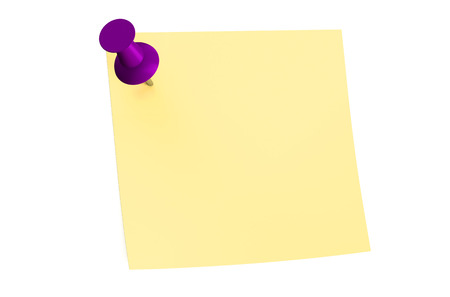 purple push pin with blank sticky note Stock Photo