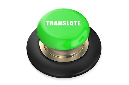 push button: Translate green push button isolated on white background
