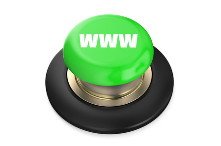 WWW Green button isolated on white background Stock Photo