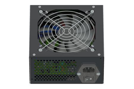 cooler boxes: Black Power Supply Unit isolated on white background Stock Photo