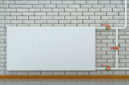 convective: eco radiator in a room isolated on white background