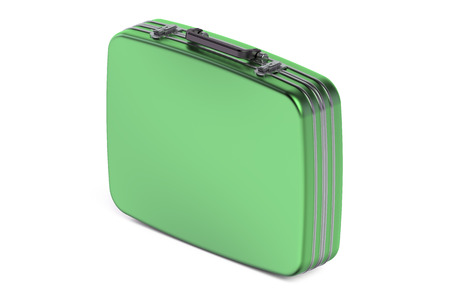 glamur: green suitcase isolated on white background