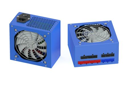 cooler boxes: Two blue computer Power Supply Units isolated on white background