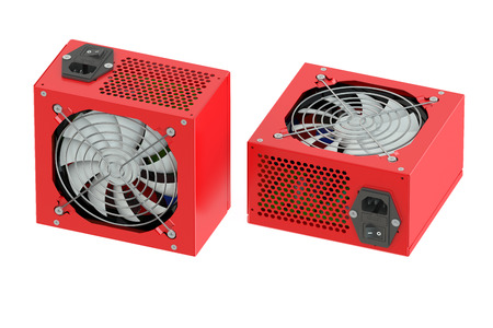 units: Two red computer Power Supply Units isolated on white background Stock Photo